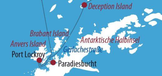 Karte Reise Antarktis Antarktis & Deception Island 2020