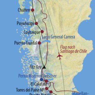 Karte Reise Argentinien • Chile Traumstraßen Patagoniens 2020
