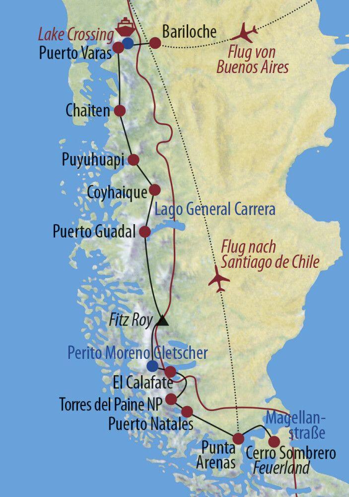 Argentinien • Chile Traumstraßen Patagoniens Blick auf den Vulkan Puntiagudo Karte