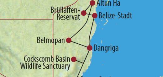 Karte Reise Belize Maya-Kultur, immergrüner Dschungel und Kakao 2020