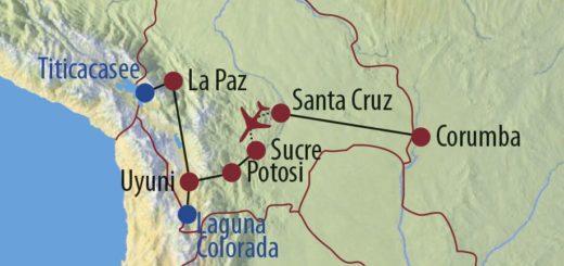 Karte Reise Brasilien • Bolivien Naturwunder Pantanal und Salar de Uyuni 2020