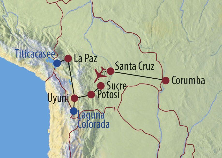 Brasilien • Bolivien Naturwunder Pantanal und Salar de Uyuni Flamingos in der Laguna Colorada Karte
