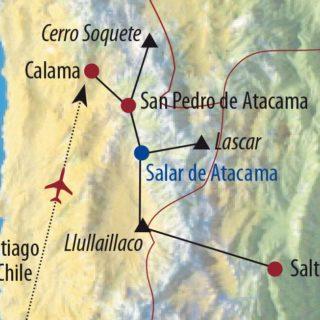 Karte Reise Chile • Argentinien | Atacama Lascar (5640m) und Llullaillaco (6739m) 2020