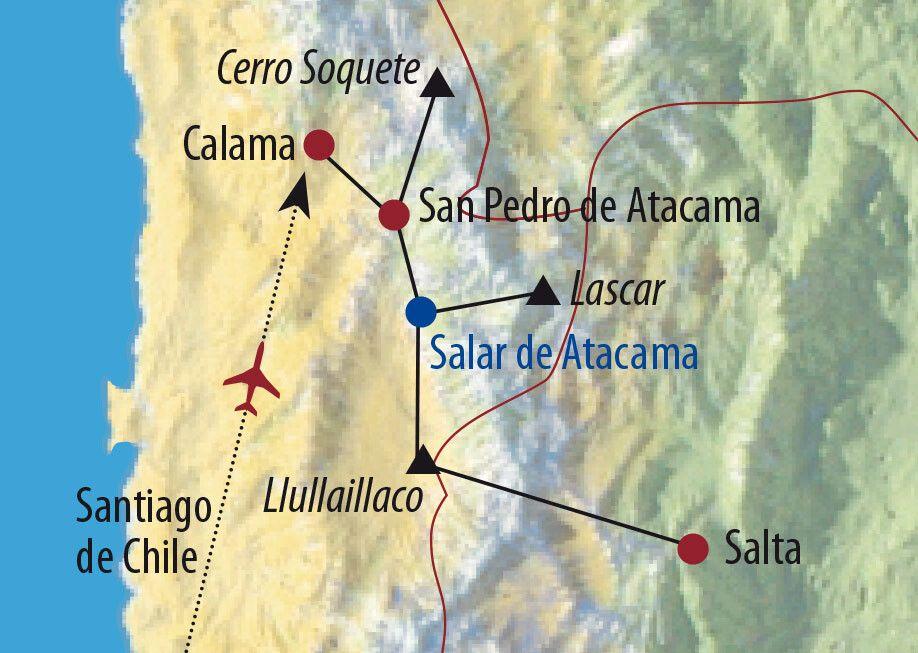Chile • Argentinien | Atacama Lascar (5640m) und Llullaillaco (6739m) Vulkan und Lagune Miscanti Karte