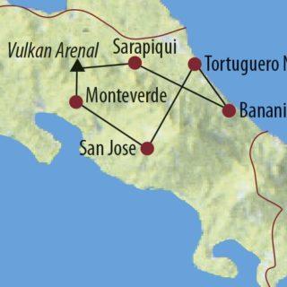 Karte Reise Costa Rica Pura Vida! 2020