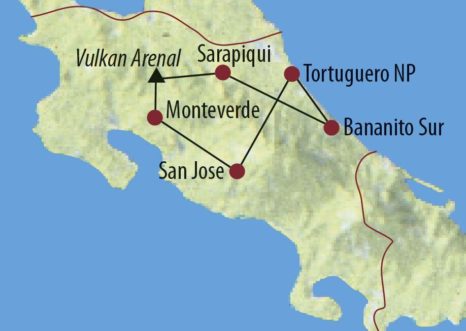 Costa Rica Pura Vida! Hängebrücken Monteverde mit Menschen Karte