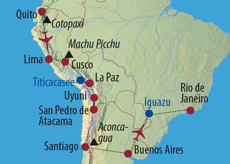 Ecuador • Peru • Bolivien • Chile • Argentinien • Brasilien Höhepunkte Lateinamerikas Iguazu-Wasserfälle Karte