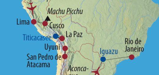 Karte Reise Ecuador • Peru • Bolivien • Chile • Argentinien • Brasilien Höhepunkte Lateinamerikas 2020