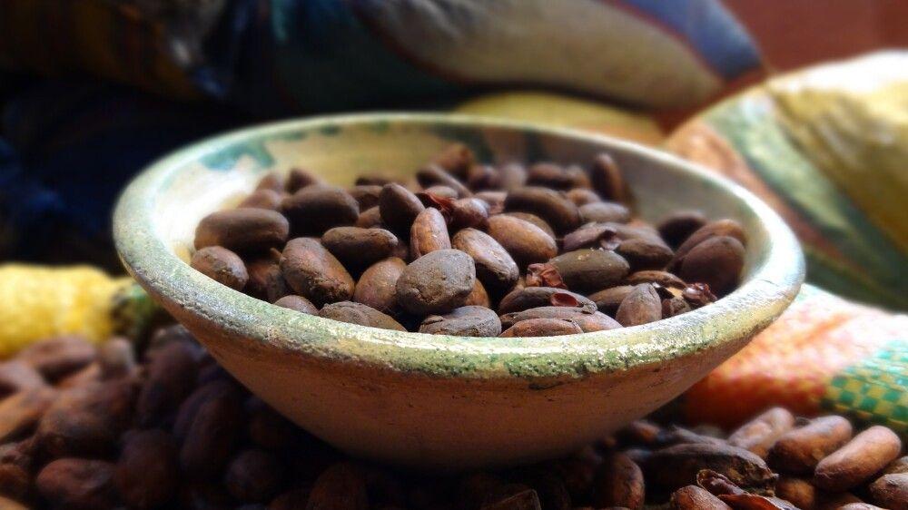 Kakaobohnen in Schokoladenfabrik