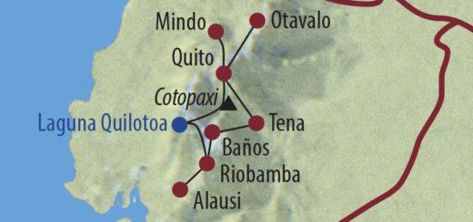 Karte Reise Ecuador Mit dem Mietwagen die Anden erfahren 2020