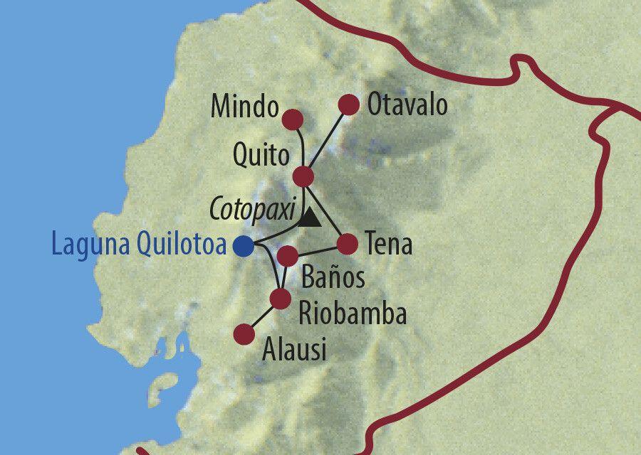 Ecuador Mit dem Mietwagen die Anden erfahren Ziegenhirte im Hinterland der Laguna Quilotoa Karte