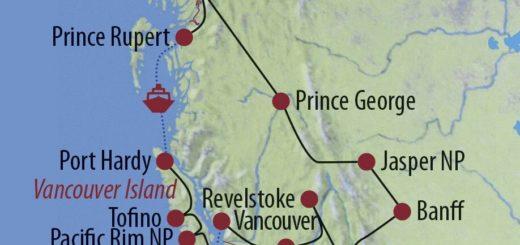 Karte Reise Kanada | Alberta • British Columbia Den Westen entdecken – mit Inside Passage 2020