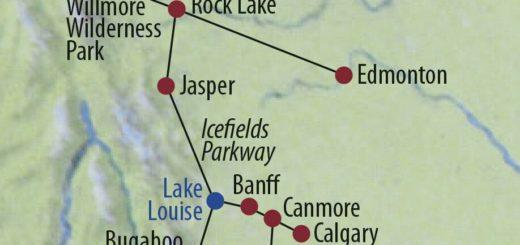 Karte Reise Kanada | Alberta • British Columbia Die Geheimnisse der Rockies 2020