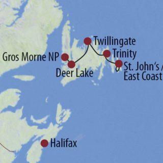 Karte Reise Kanada | Neufundland Weltwunder und wilde Küsten 2020
