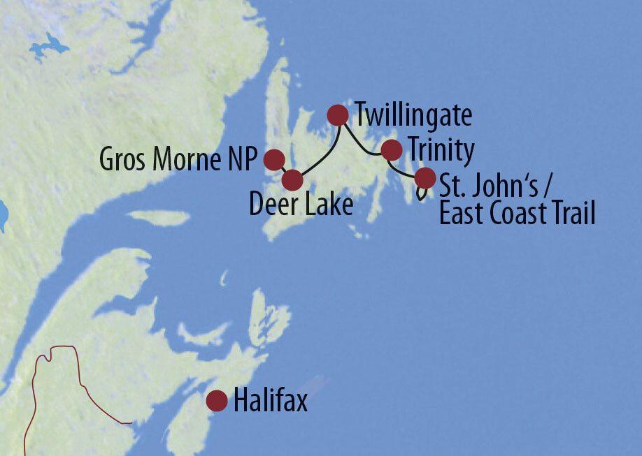 Kanada | Neufundland Weltwunder und wilde Küsten Elch in Zentral-Neufundland Karte