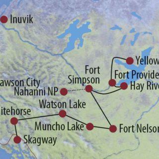 Karte Reise Kanada | Northwest Territories • Yukon Entdeckungsreise im Norden Kanadas (Yellowknife-Whitehorse) 2020