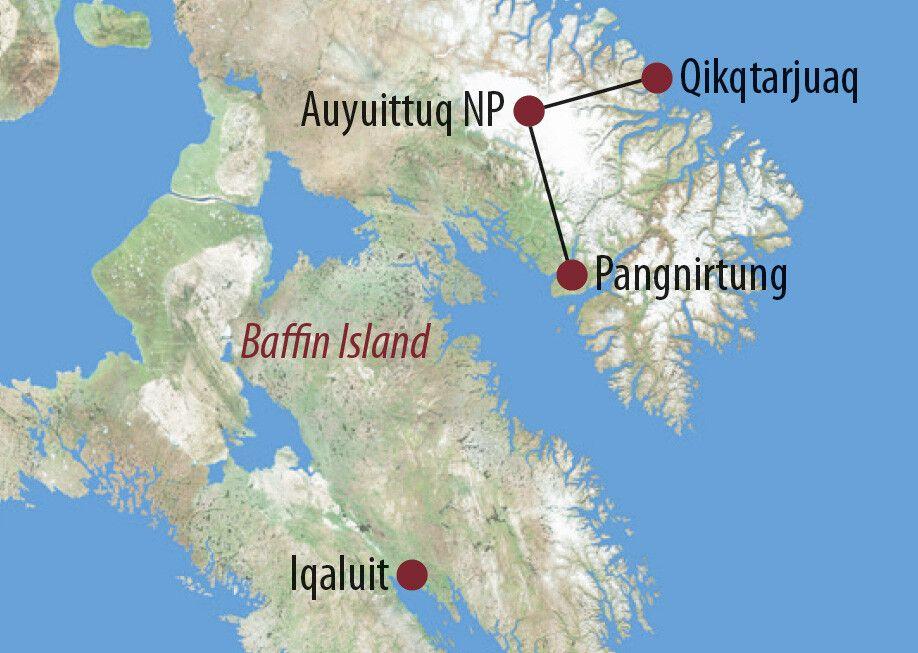 Kanada   Nunavut Durchquerung des Auyuittuq-Nationalparks Wanderer im Auyuittuq National Park, Baffin Island Karte