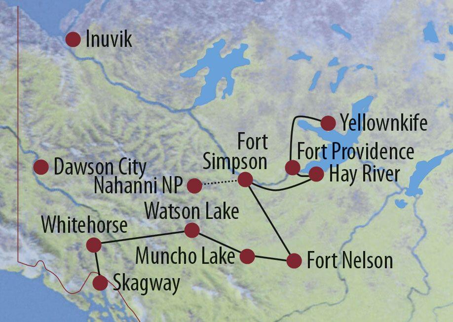 Kanada | Yukon • Northwest Territories Entdeckungsreise im Norden Kanadas (Whitehorse – Yellowknife) Alexandra Falls bei Hay River Karte