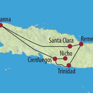 Karte Reise Kuba Zentralkuba stilvoll im Oldtimer 2020