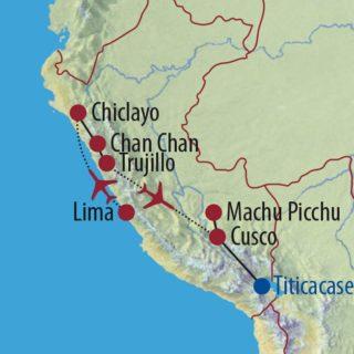 Karte Reise Peru Machu Picchu und geheimnisvoller Norden 2020