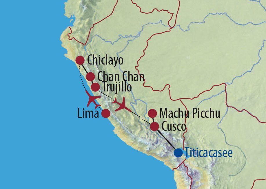 Peru Machu Picchu und geheimnisvoller Norden Totenmaske Karte