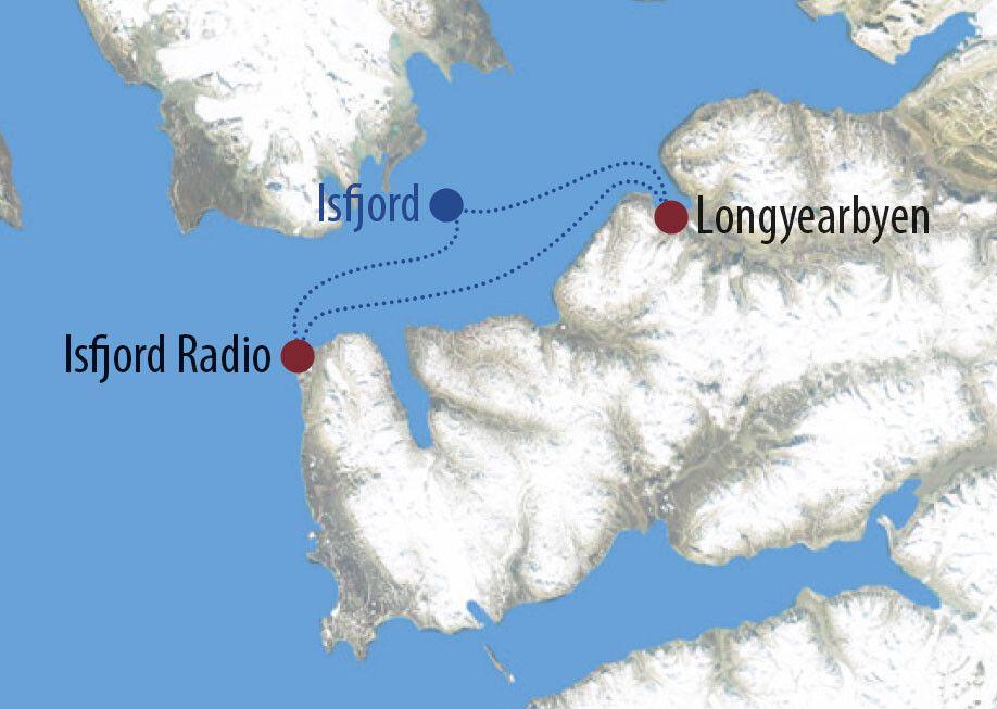 Spitzbergen Mit Huskys nach Isfjord Radio Pause vor traumhafter Bergkulisse Karte