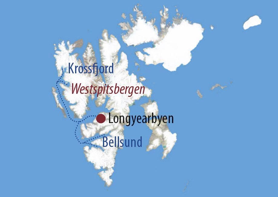 Spitzbergen Svalbard hautnah und intensiv Unterwegs rund um Alkhornet Karte