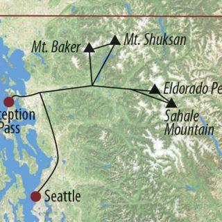 Karte Reise USA │ Nordwesten Eldorado Peak (2703m), Mt. Shuksan (2778m) und Mt. Baker (3282m) – Pilotreise 2020