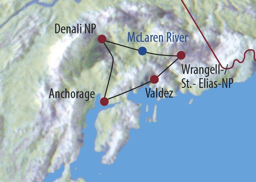 USA | Alaska Alaskas Naturparadiese Zeltplatz direkt am Bus Karte