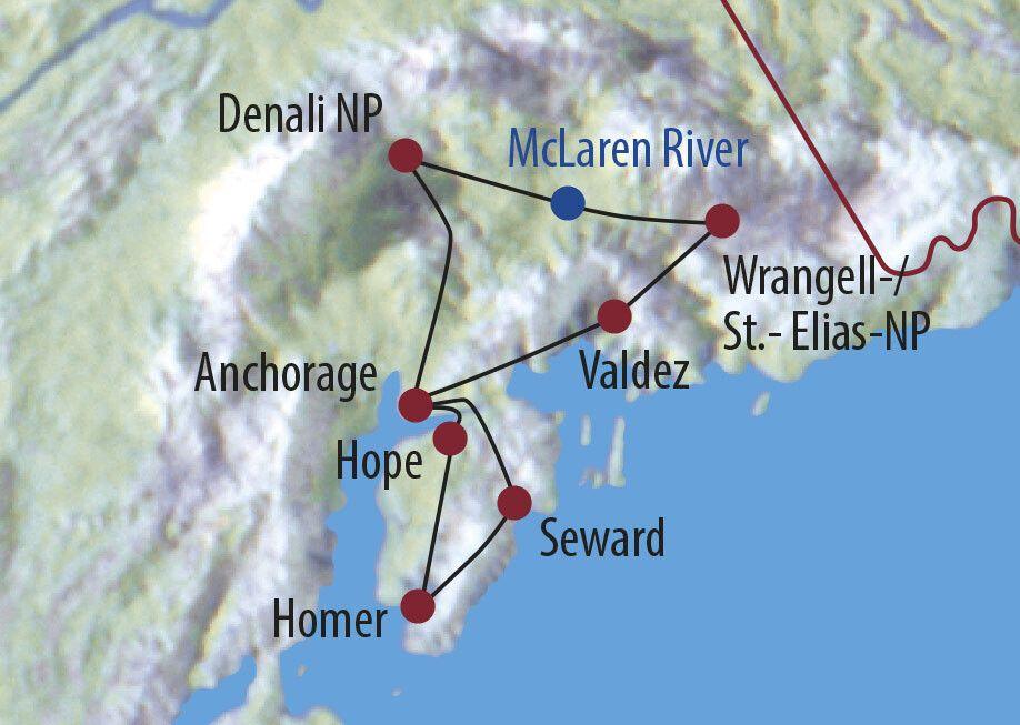 USA | Alaska Alaskas Naturparadiese Unterwegs mit einem umgebauten Schulbus Karte