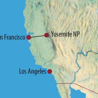 Karte Reise USA | Kalifornien Bergwandern im Yosemite-Nationalpark 2020
