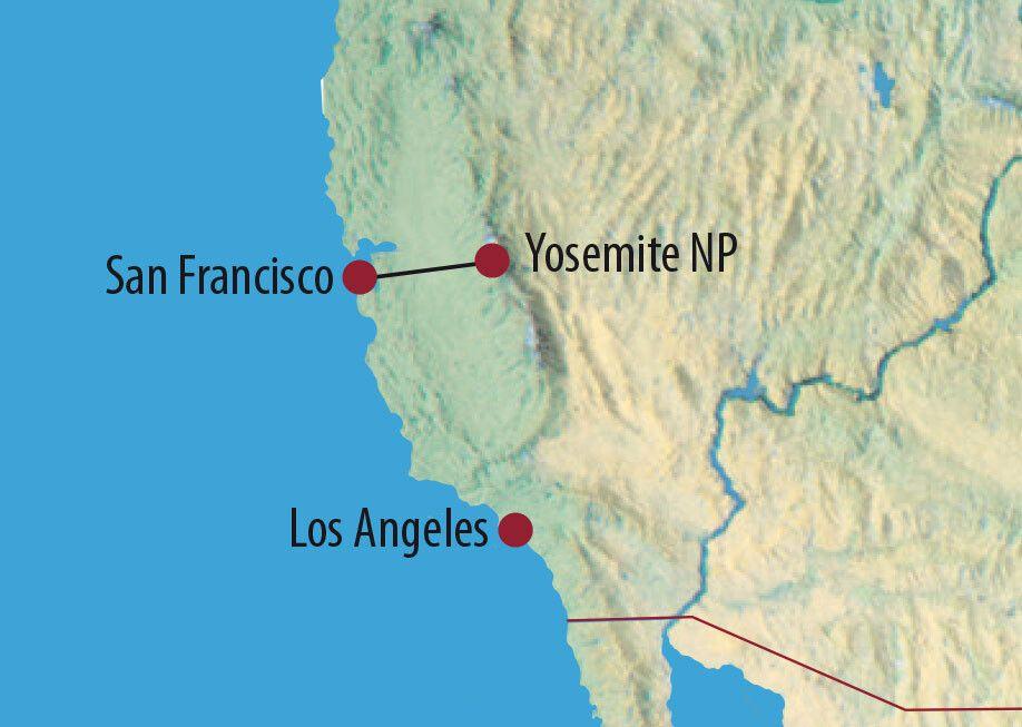 USA   Kalifornien Bergwandern im Yosemite-Nationalpark Tuolumne Peaks und Tenaya Lake and der Tioga Road, Yosemite-Nationalpark, Kalifornien Karte