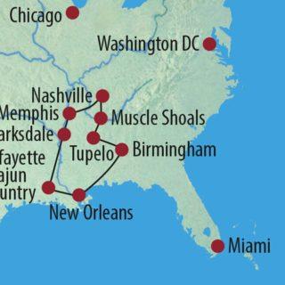 Karte Reise USA | Südstaaten Live und in Farbe – Die Musik des Mississippi 2020
